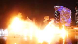 Dubai Festival City, офигенное лазерное, огненное, световое шоу на воде