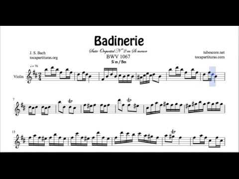Badinerie J. S. Bach Sheet Music for Violinists B minor