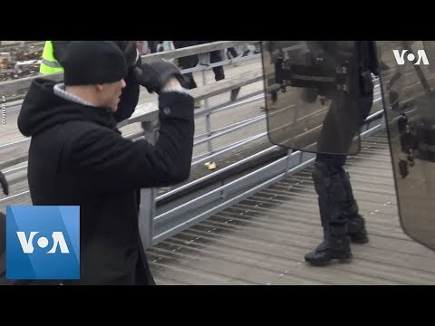 Protester 'Boxes' with Police at Paris Demonstration