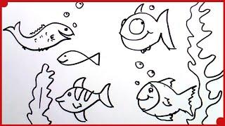 Como Dibujar un Pez muy fácil | how to draw fish very easy