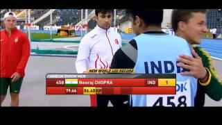 Javelin thrower Neeraj Chopra world record U-20