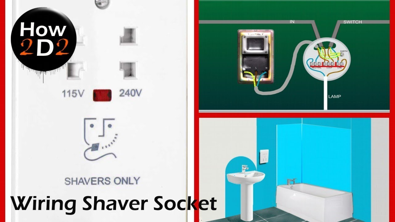 Wiring Bathroom Shaver Socket How to wire shaver socket to ceiling rose or  to the ring dual voltage - YouTube | Bathroom Shaver Socket Wiring Diagram |  | YouTube