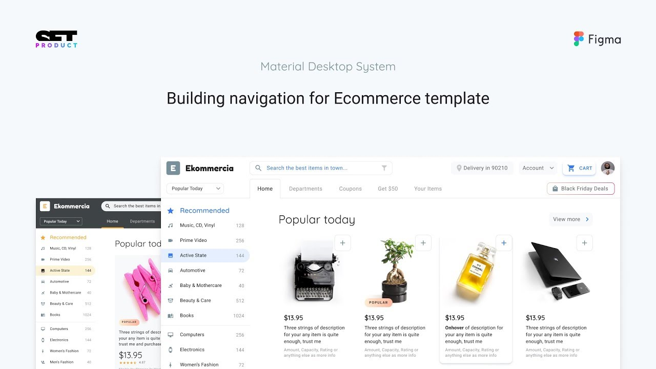 Figma ecommerce shop desktop template  Navigation design within tabs and  list components