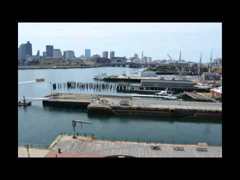 Boston Harbor and Cityscape with Timelapse tidal flow