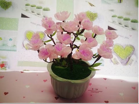 Cách ghép hoa thành cây hoa đào chơi tết đơn giản | by Dzung Mac