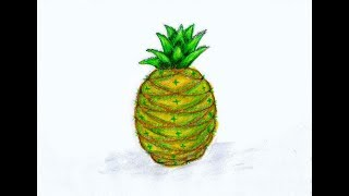 Pineapple Drawing Easy and Fast    How to Draw a Pineapple With Bangle Easy Trick