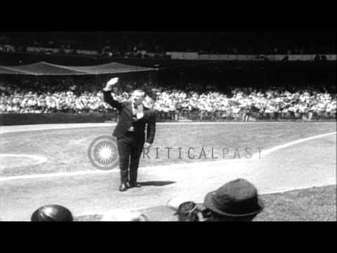 Crowd gives a standing ovation to Edward Charles Whitney Ford as he retires at th...HD Stock Footage