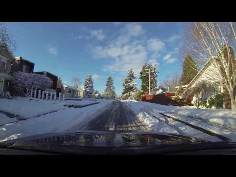 Winter driving in Metro Vancouver with snow