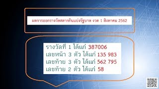 ถ่ายทอดสด การออกรางวัลสลากกินแบ่งรัฐบาล 1 สิงหาคม 2562