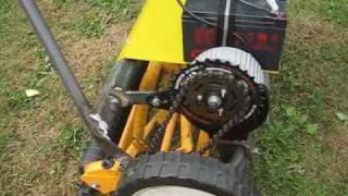 Electric lawn mower. Battery operated. DIY.  Handjagare