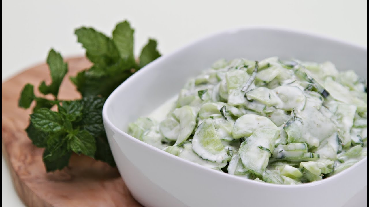 Cucumber salad with greek yogurt and fresh mint youtube forumfinder Images