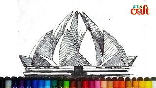 Lotus Temple, New Delhi #Drawing step by step easily for kids