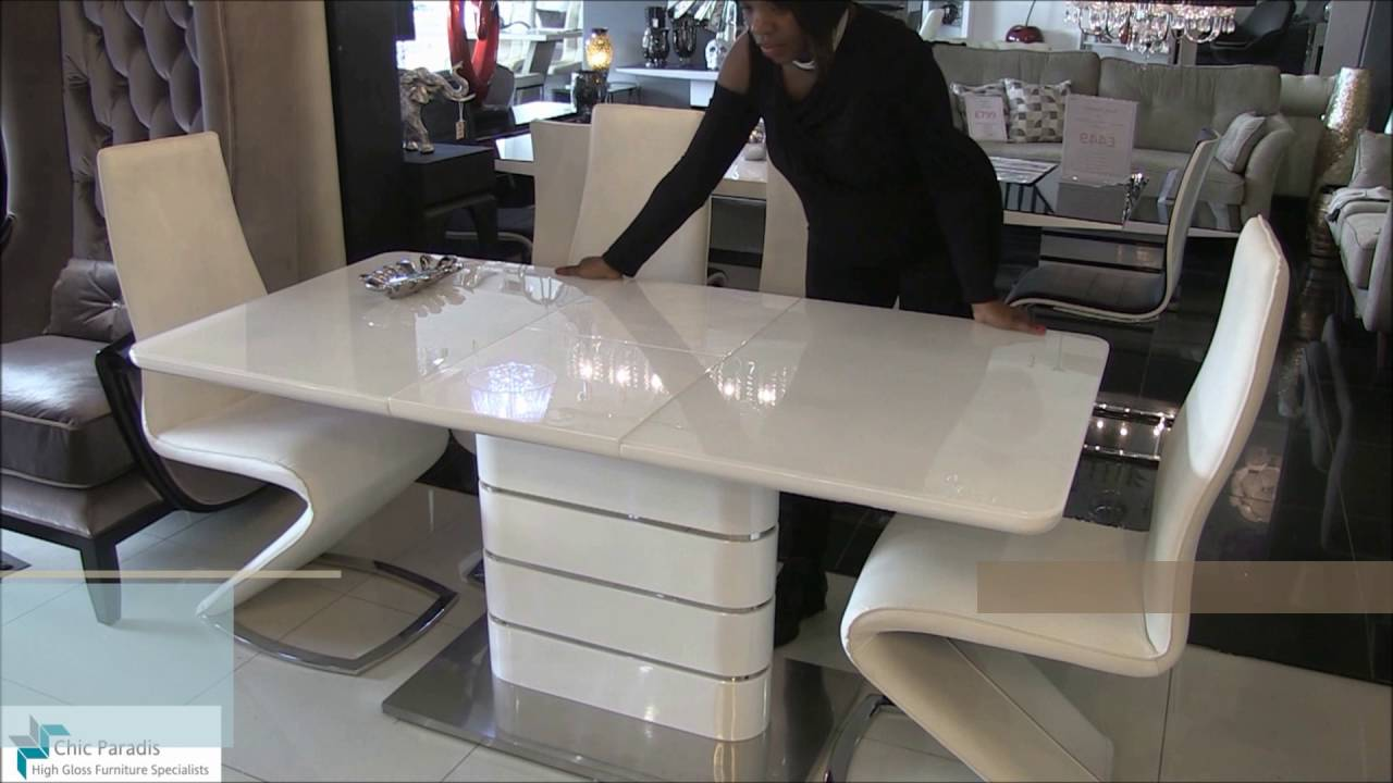 Alice Extending High Gloss White Dining Table Chic Paradis