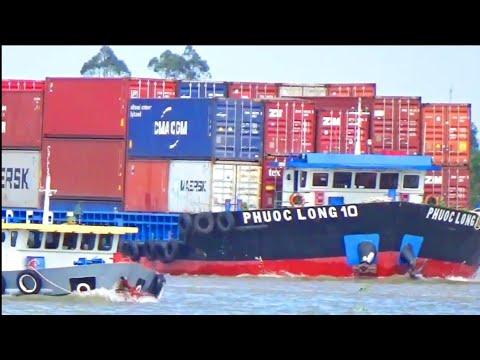Tàu vận tải chở container Khủng vượt sông MEKONG