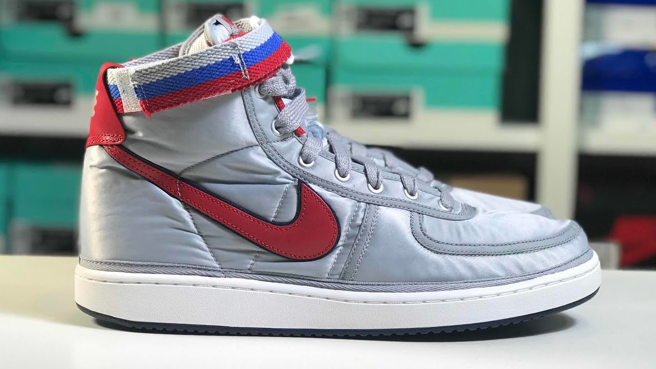 Nike Vandal High Supreme QS Metallic Silver   University Red Sneaker ... 1565cc212ce1
