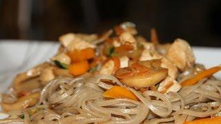 ЛАПША СОБА С ОВОЩАМИ И КУРИНОЙ ГРУДКОЙ ( Soba noodles with vegetables  and chicken)