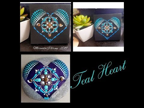 Painting Tutorial ~Teal Heart Painting ~ Dot Art Painting with Miranda Pitrone thumbnail