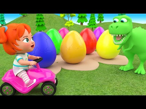 Little Baby Girl Fun Learning Colors For Children With Color Eggs Dinosaur Cartoons 3D Kids Edu Play