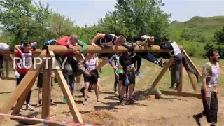 Russia  Mass obstacle course race held at special forces base in Chechnya