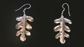 Sweat Soldered Planished Copper Leaf Earrings
