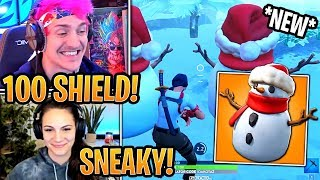 Streamers First Time Using *NEW* Sneaky Snowman Item! - Fortnite Best and Funny Moments