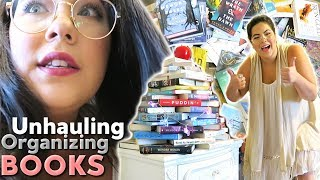 ORGANIZING AND UNHAULING MY BOOKS + Room Tour!