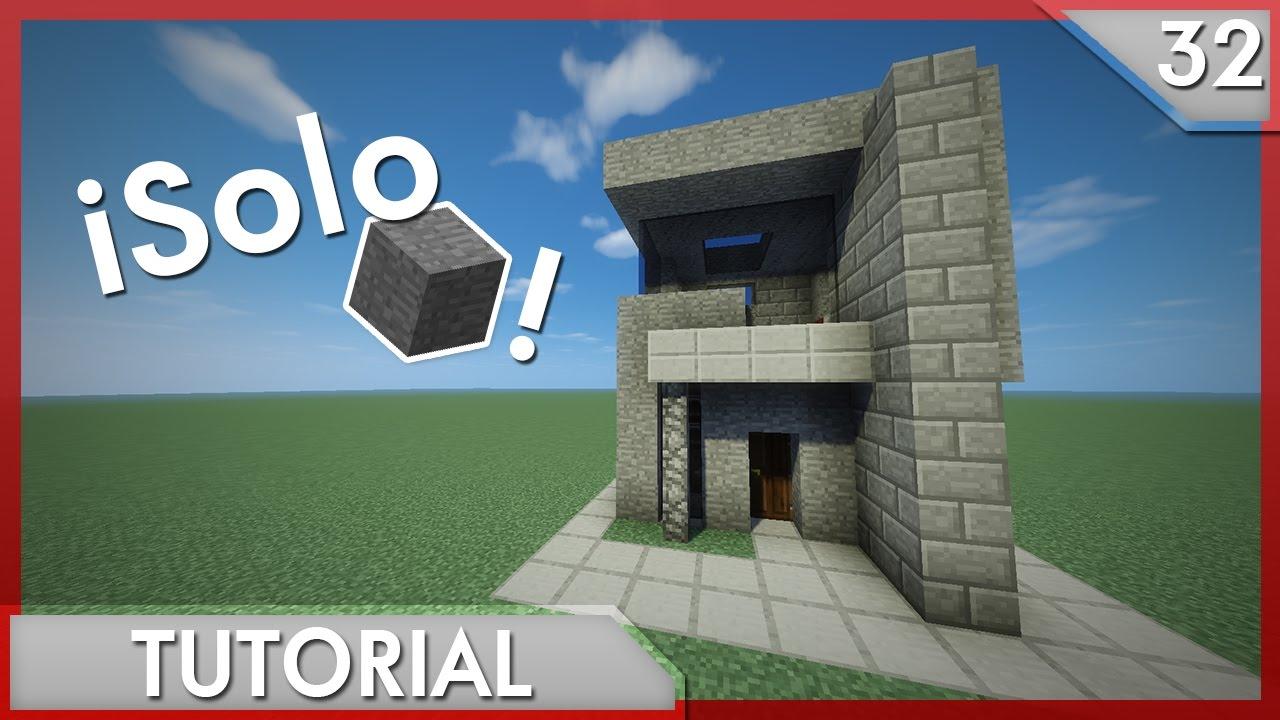 Minecraft casa moderna para survival solo con piedra for Casa moderna survival minecraft