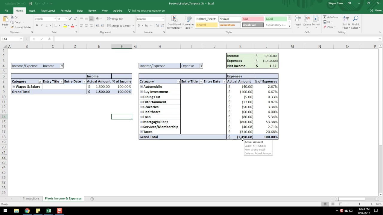 personal cash flow template walkthrough