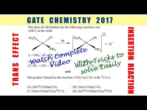 Solved Problem On TRANS EFFECT And INSERTION REACTION - GATE 2017