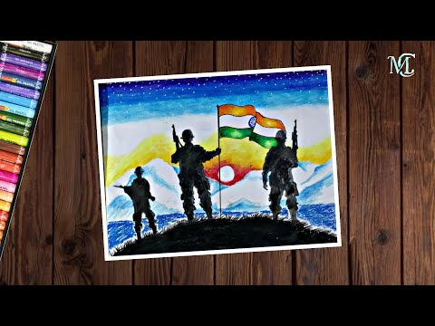 How To Draw Indian Army With Flag Republic Day Drawing