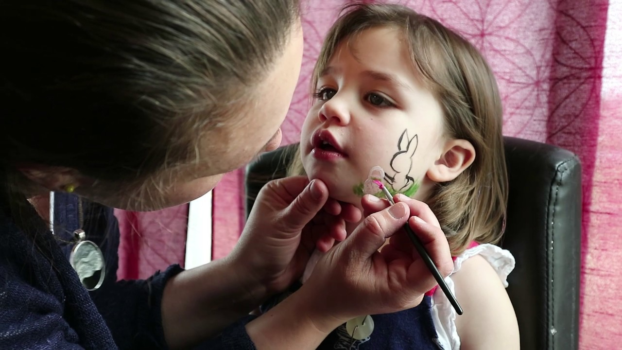 Super Cute Simple Easter Bunny Face Paint Tutorial Kids Face