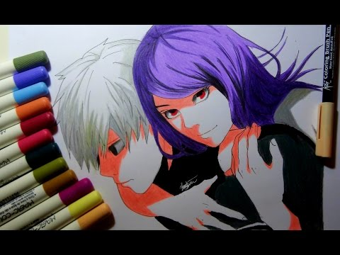 drawing kaneki and rize from tokyo ghoul