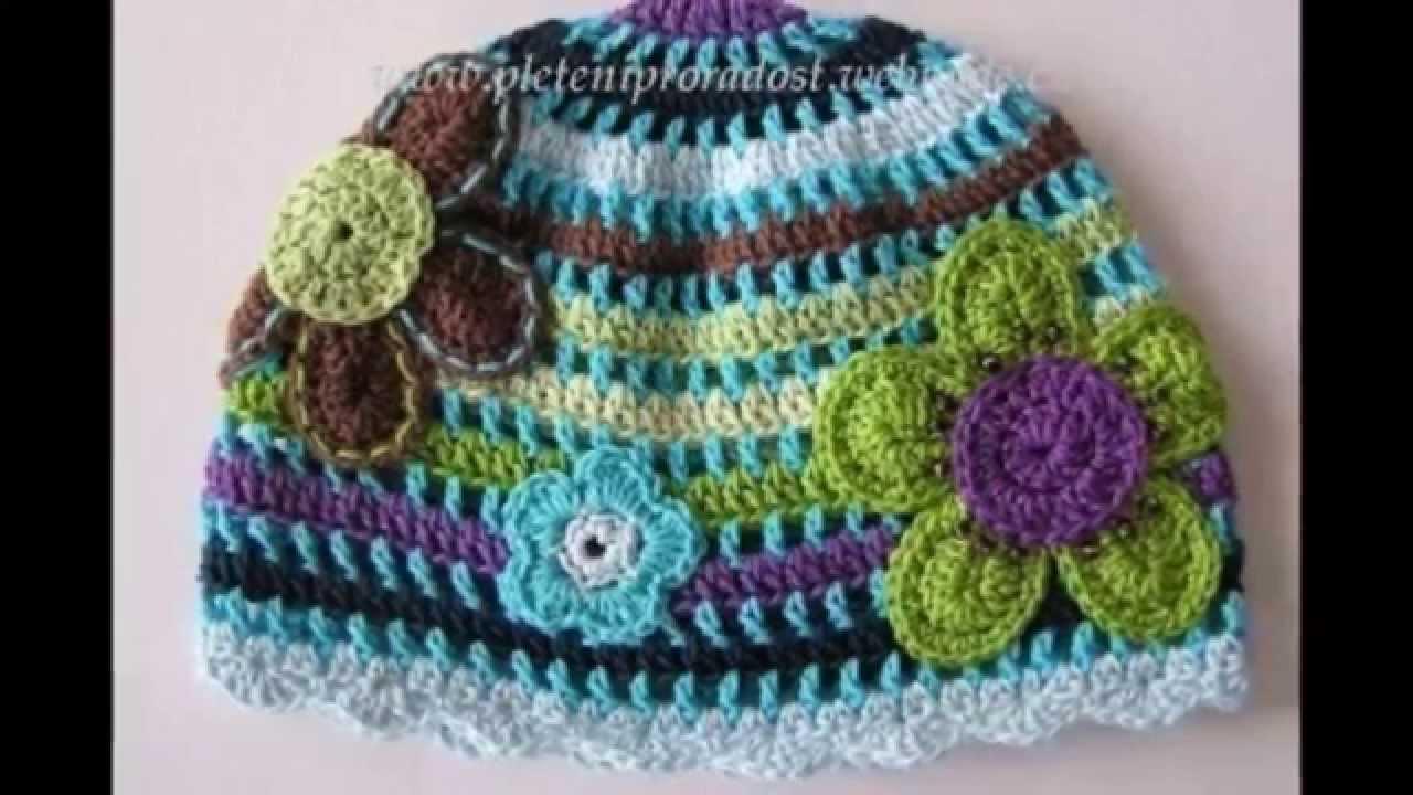 Modelos de gorros con flores tejidos a crochet para niña - YouTube