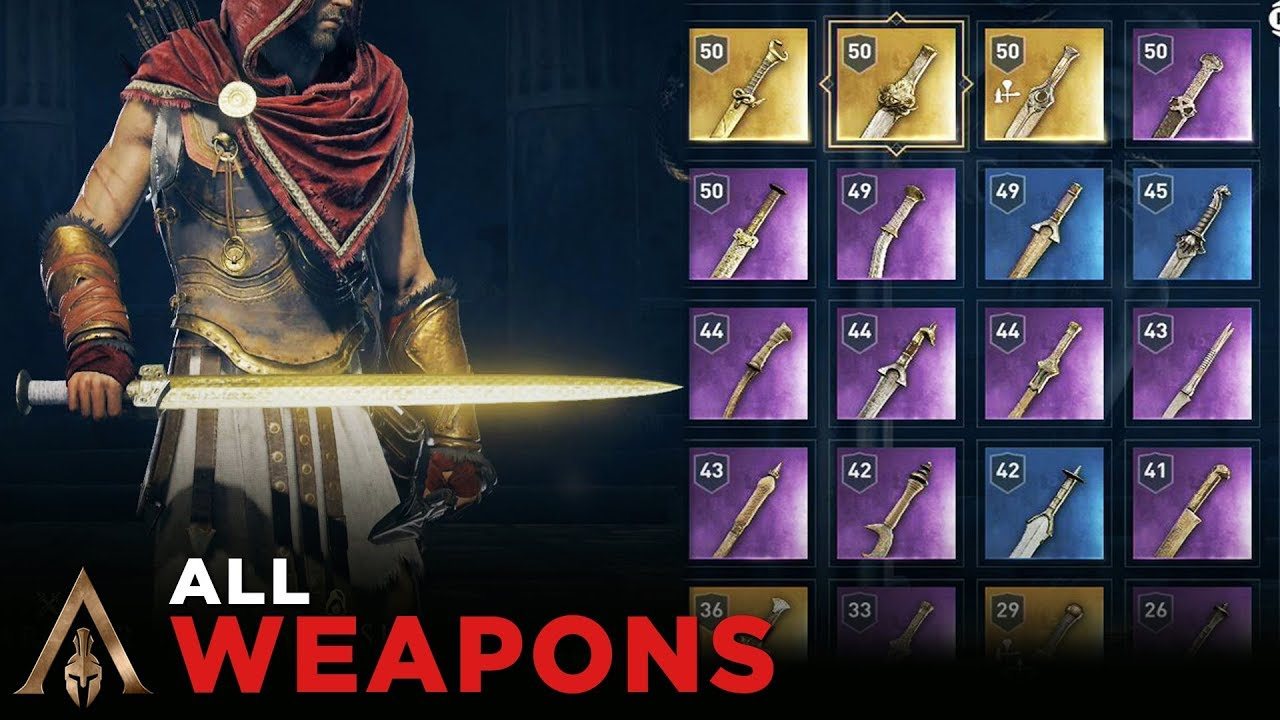 All Weapons All Sword Dagger Heavy Staff Spear Assassin S Creed Odyssey Youtube