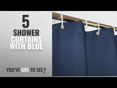 Top 10 Shower Curtains With Blue [2018]: Eforcurtain Heavy Duty Waffle Shower Curtain Hotel,