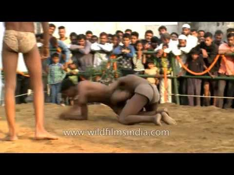 Hand to hand mud wrestling - a rural Indian tradition