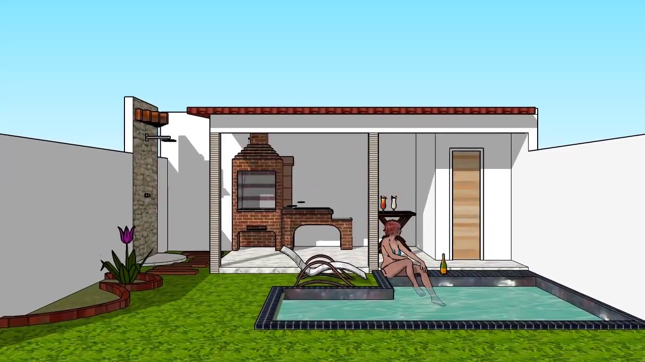 ideia de quintal pequeno c churrasqueira piscina youtube