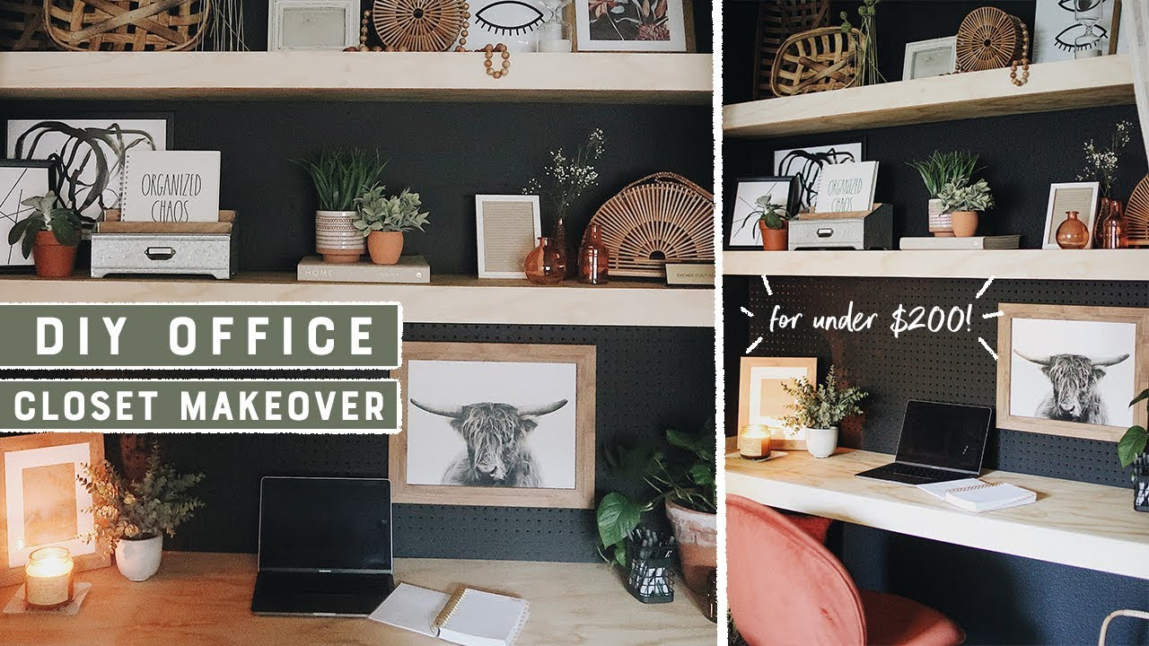 Turning A Closet Into An Office Space Weekend Makeover For Less Than 200 Youtube
