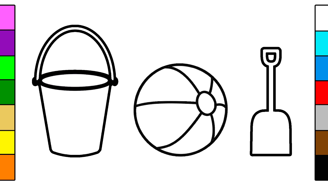 Beach Bucket Ball Shovel Coloring Pages For Kids Youtube - Bucket-and-shovel-coloring-page