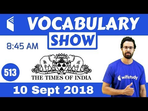 8:45 AM - The Times of India Vocabulary with Tricks (10 Sept, 2018) | Day #513