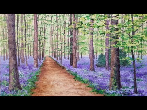 Bluebell Woods Beginner Landscape Acrylic Painting Tutorial LIVE