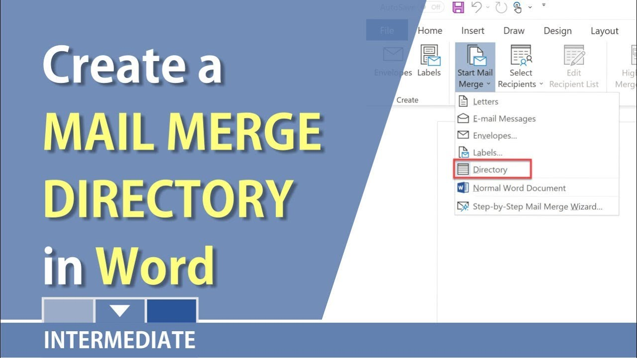 create a directory in microsoft word using mail merge by chris