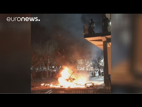 Police and protesters clash at the University of California Berkeley campus
