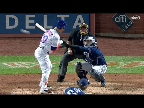 SD@NYM: Conforto gets hit by a pitch in...