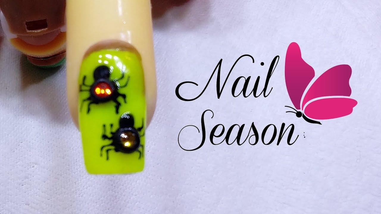Unas Decoradas Halloween Aranas Paso A Paso 2017 Spider Nail Art