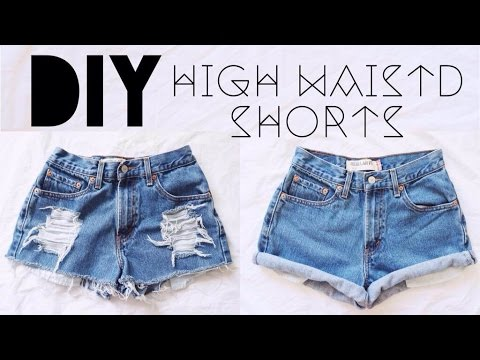 diy high waisted shorts youtube