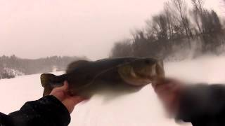 Ice Fishing the Hollow 5 lb large mouth bass
