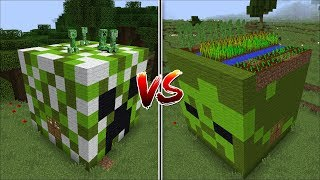 Minecraft CREEPER HOUSE VS ZOMBIE HOUSE MOD / WHICH MOB IS BETTER TO MAKE A HOUSE !! Minecraft