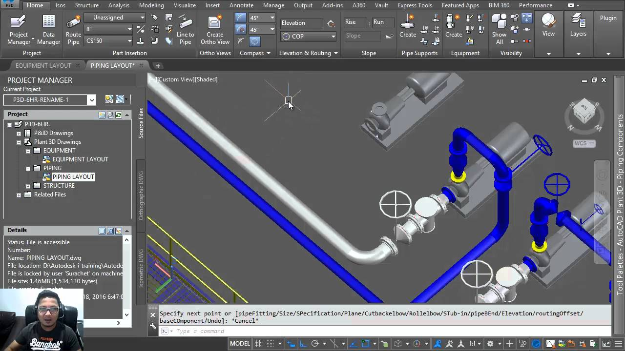 autocad plant 3d 2016 tutorial 3d pipe routing with xref equipment dwg youtube