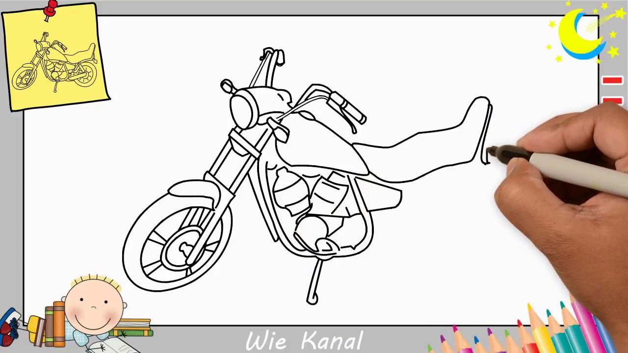 motorrad zeichnen lernen einfach f r anf nger kinder 1. Black Bedroom Furniture Sets. Home Design Ideas